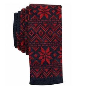 Bar III Slim Neck Tie Holiday Print Red